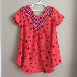 Self Esteem Orange Blue Tunic Top, Girls Size 7/8